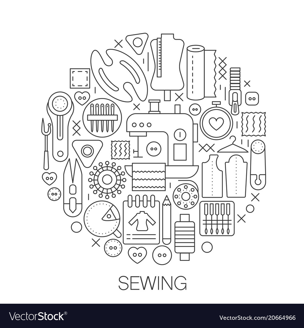 Sewing in circle - concept line for