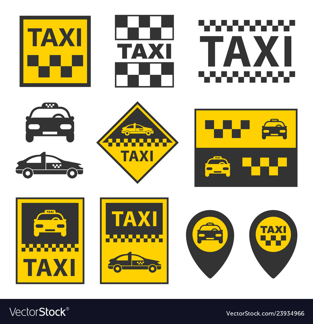 Taxi icons set taxi service signs in
