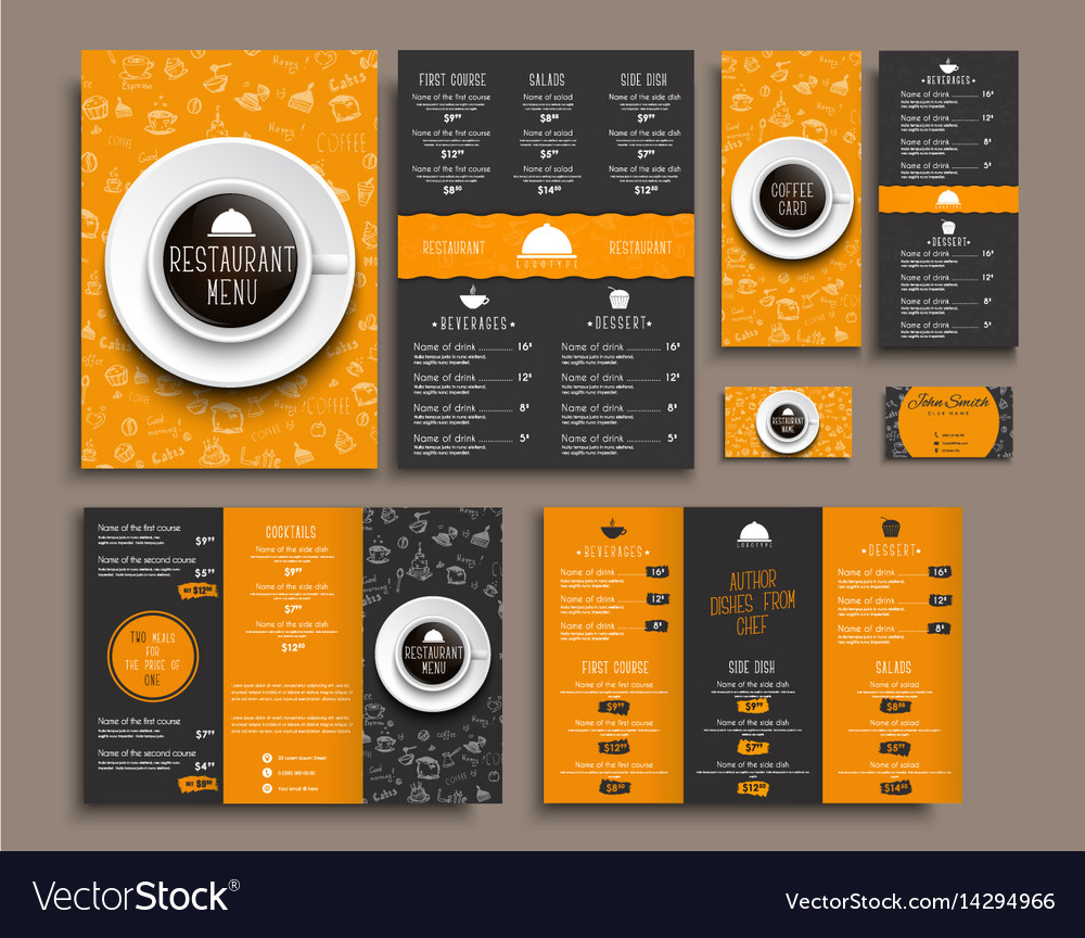 Template a4 menu folding brochures and flyers
