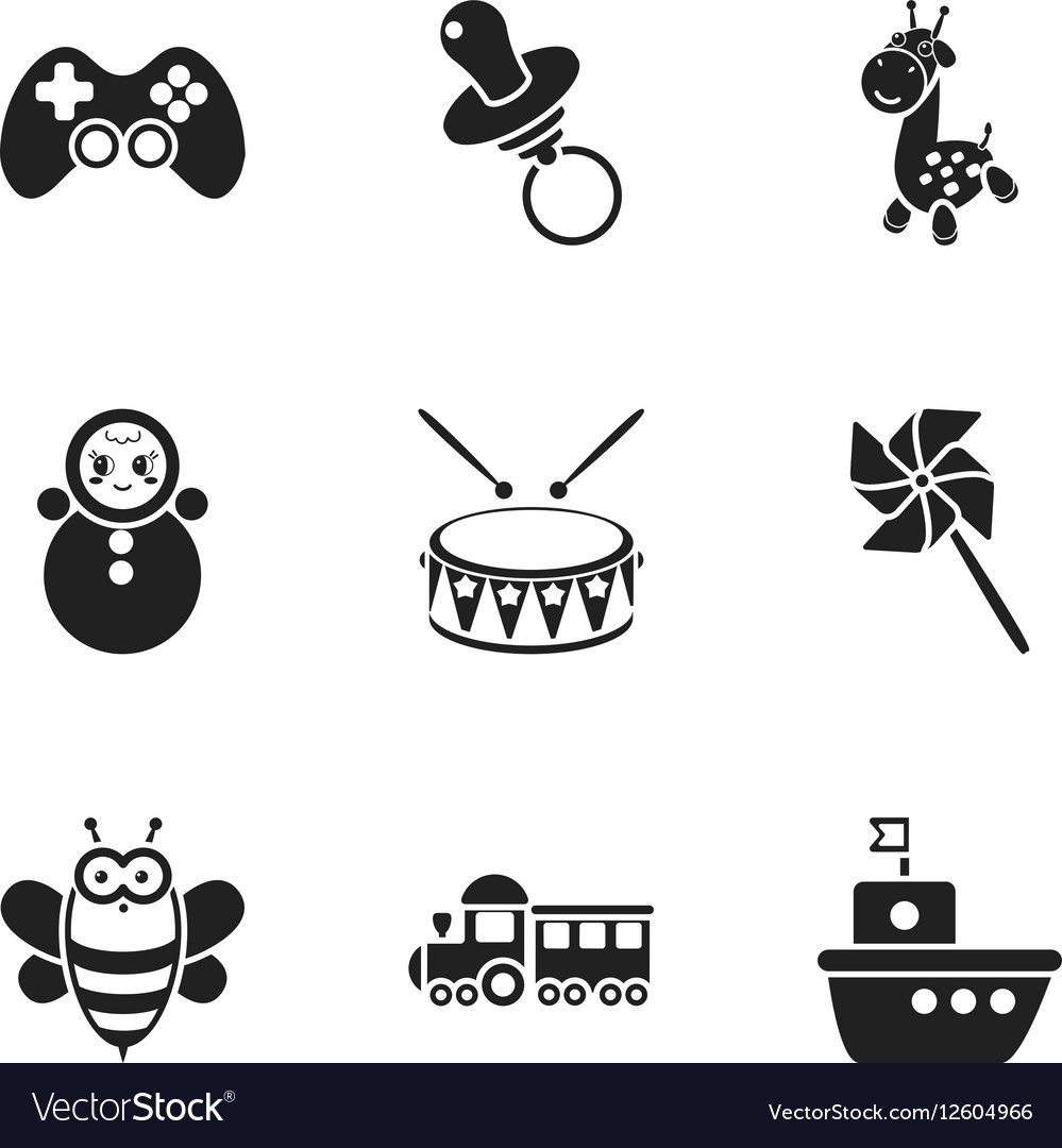 Toys set icons in black style Big collection of