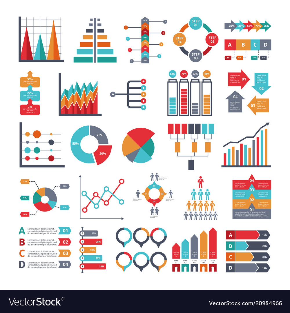 Various business symbols for for infographic