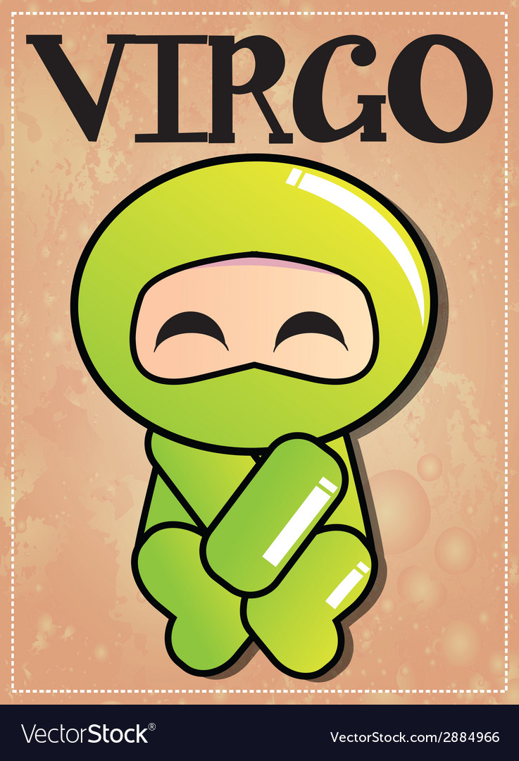 Zodiac sign Virgo with cute black ninja character