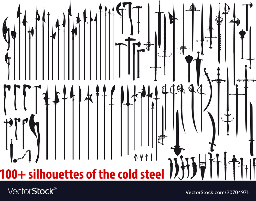Big set silhouettes of the cold steel vector image