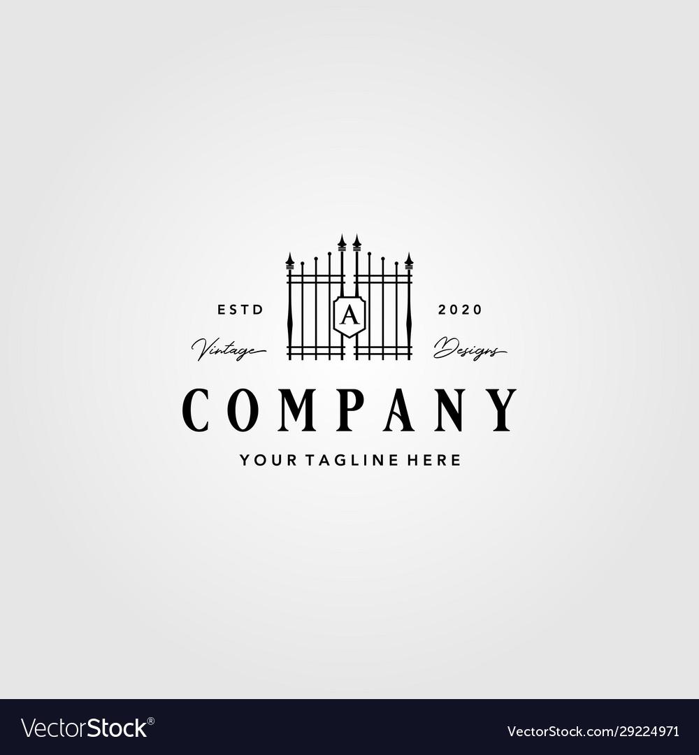 Building gate fence logo vintage design
