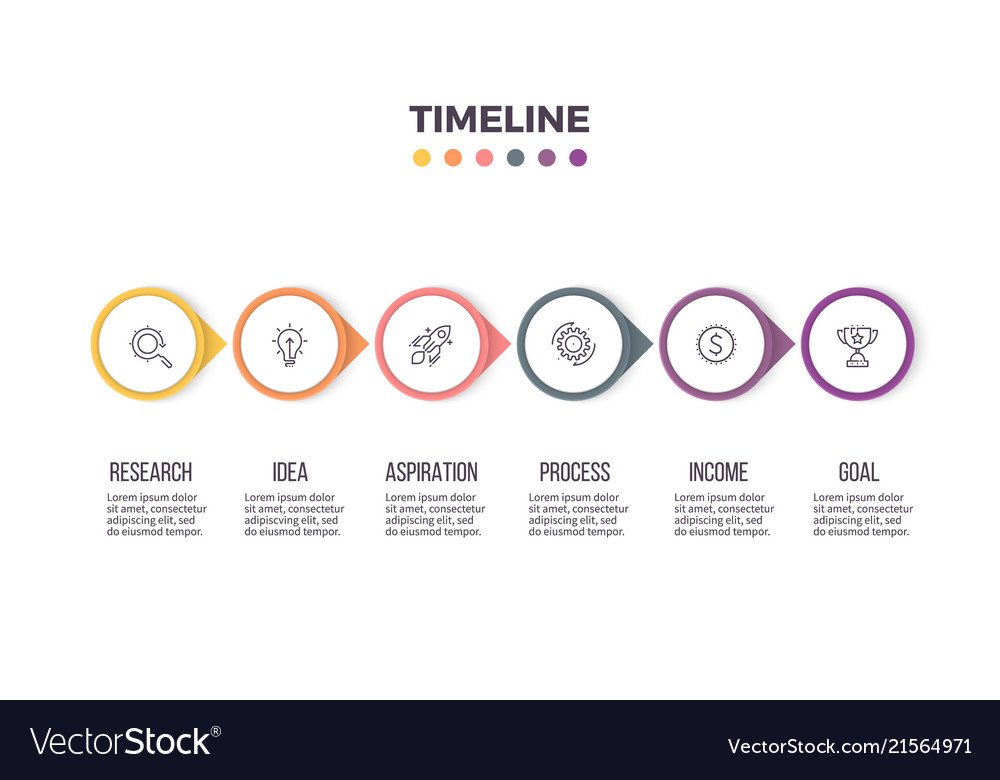 Business infographics timeline with 6 steps