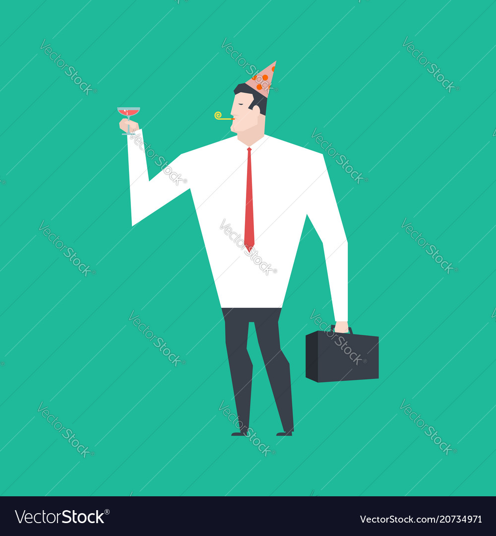 Businessman at party celebratory cap and party