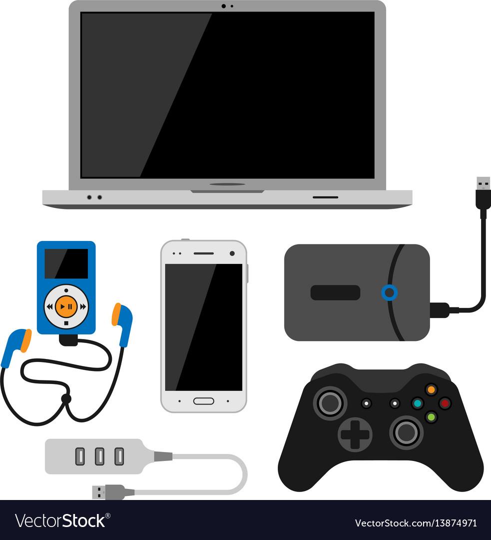 Electronic gadgets icons technology electronics