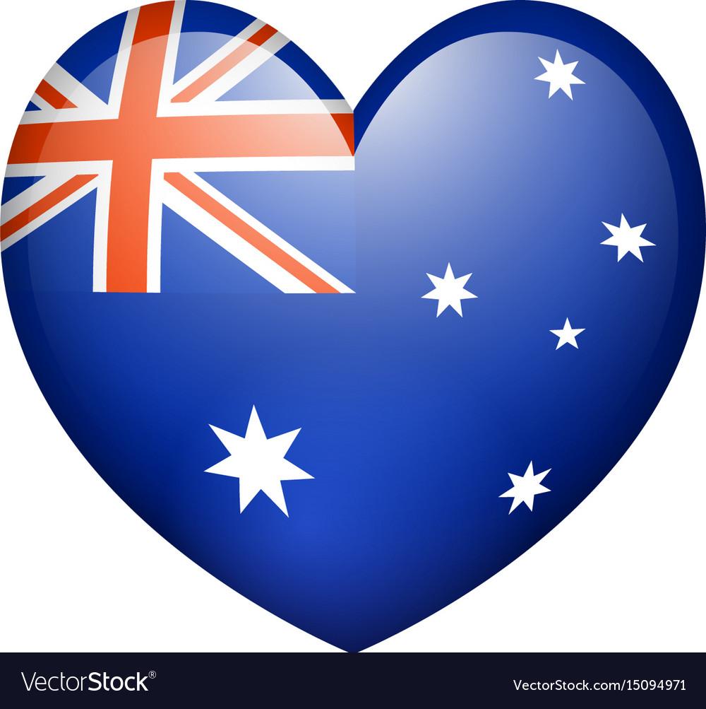 Flag on australia in heart shape