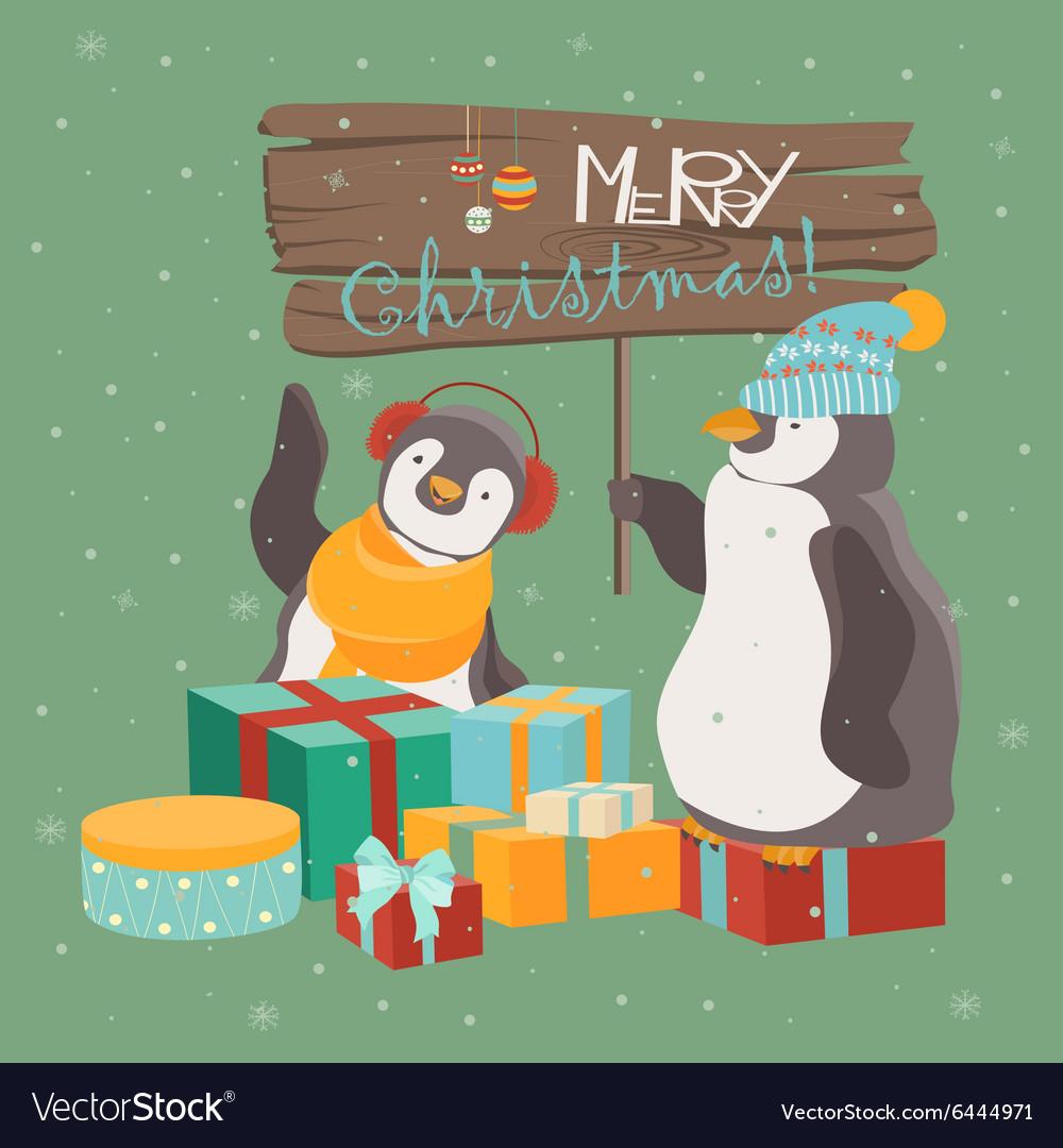 Funny penguins friends celebrating Christmas