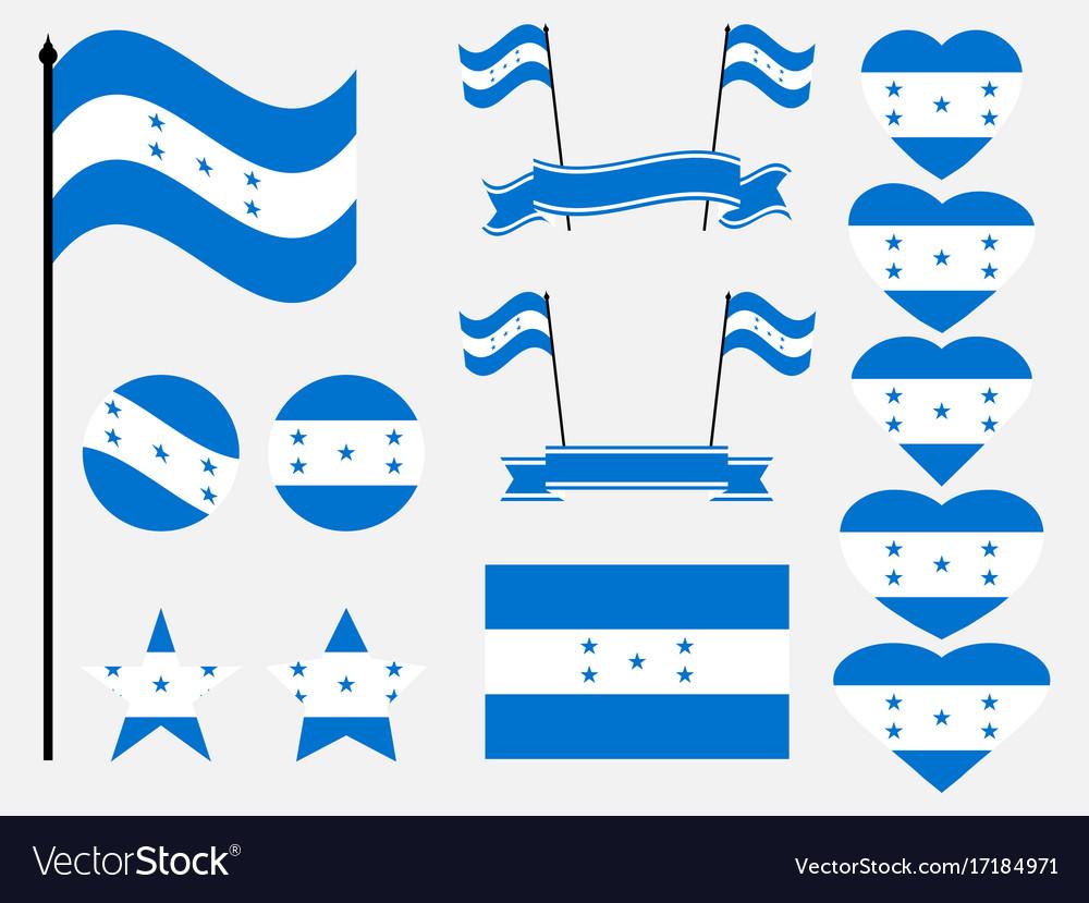 Honduran flag set symbols flag in heart vector image