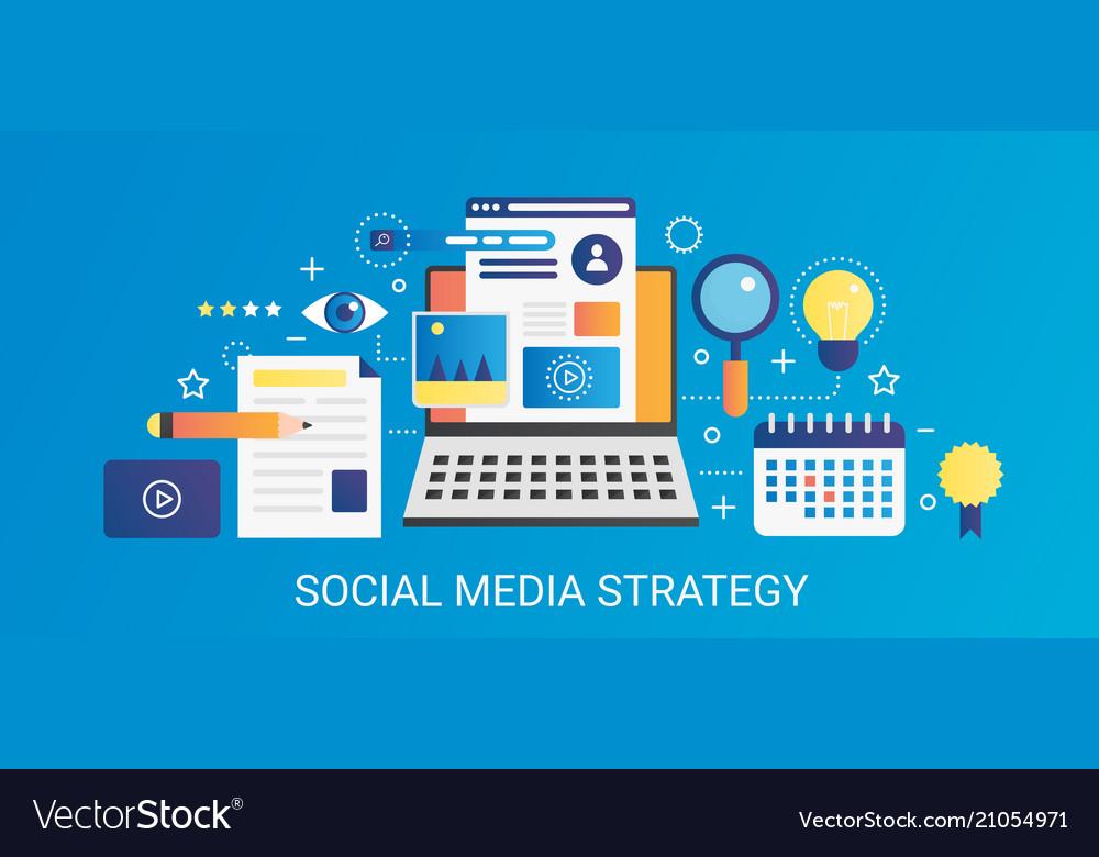 Modern flat gradient social media strategy