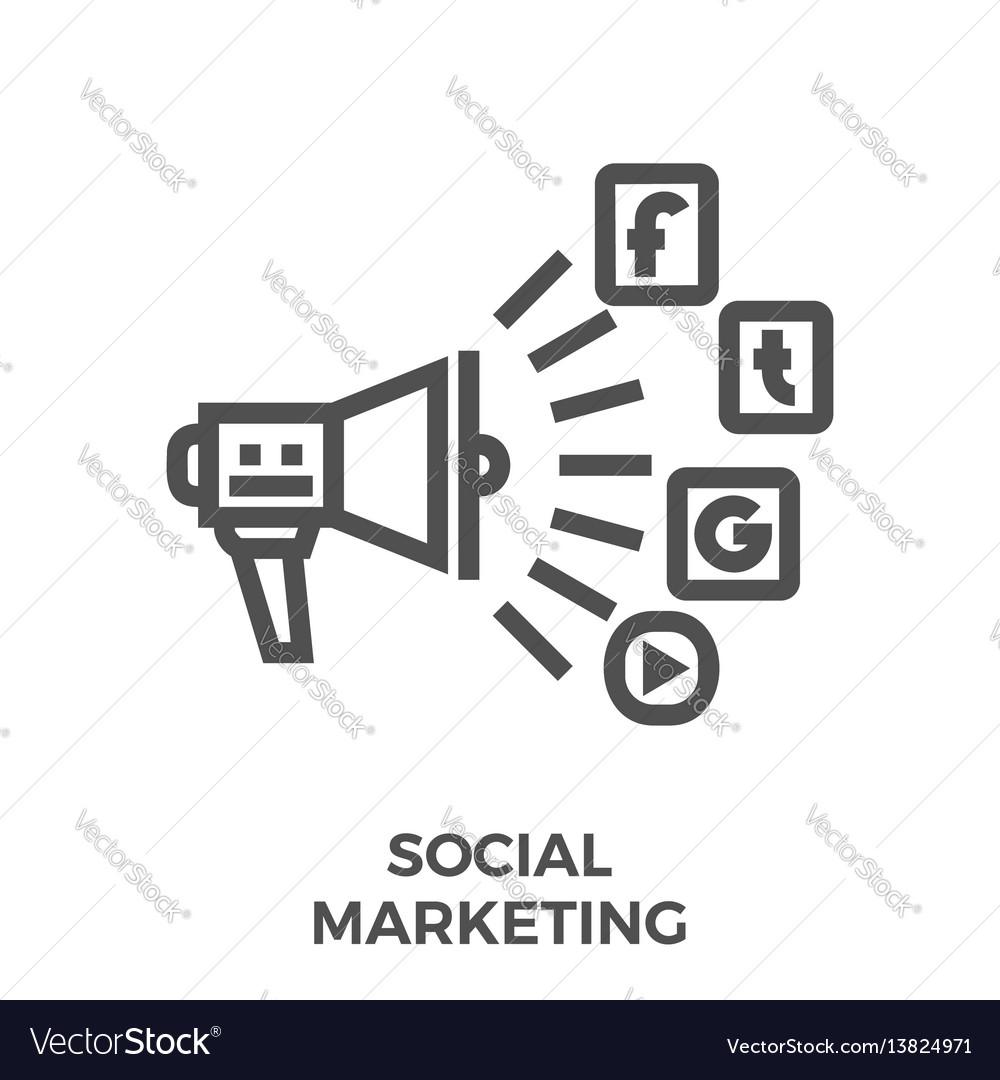 Social marketing line icon
