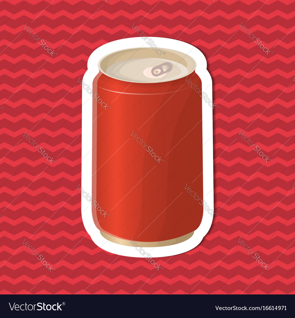 Sticker of soda in a tin can on red striped vector image