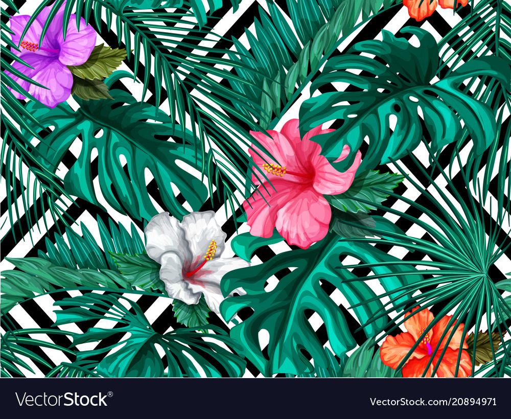 Tropical leaves hibiscus seamless pattern