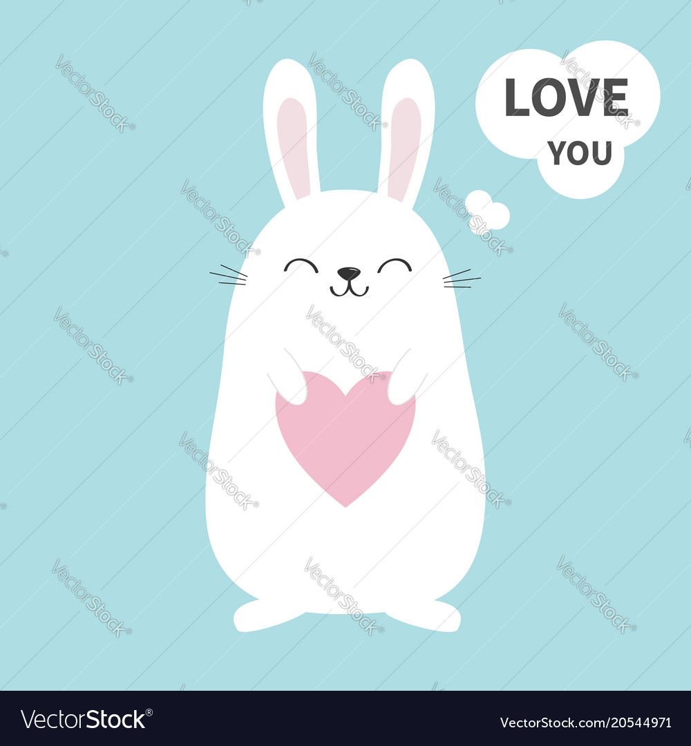 White bunny rabbit holding heart talking thinking