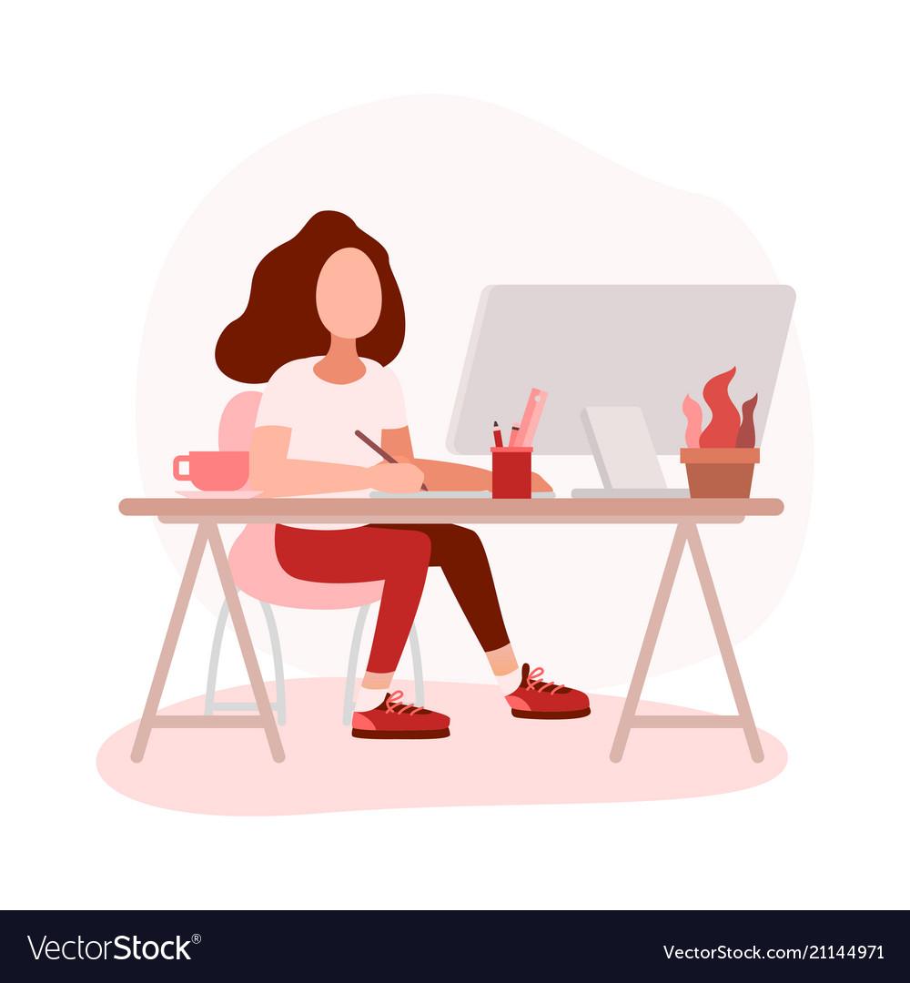 Woman graphic designer working on computer