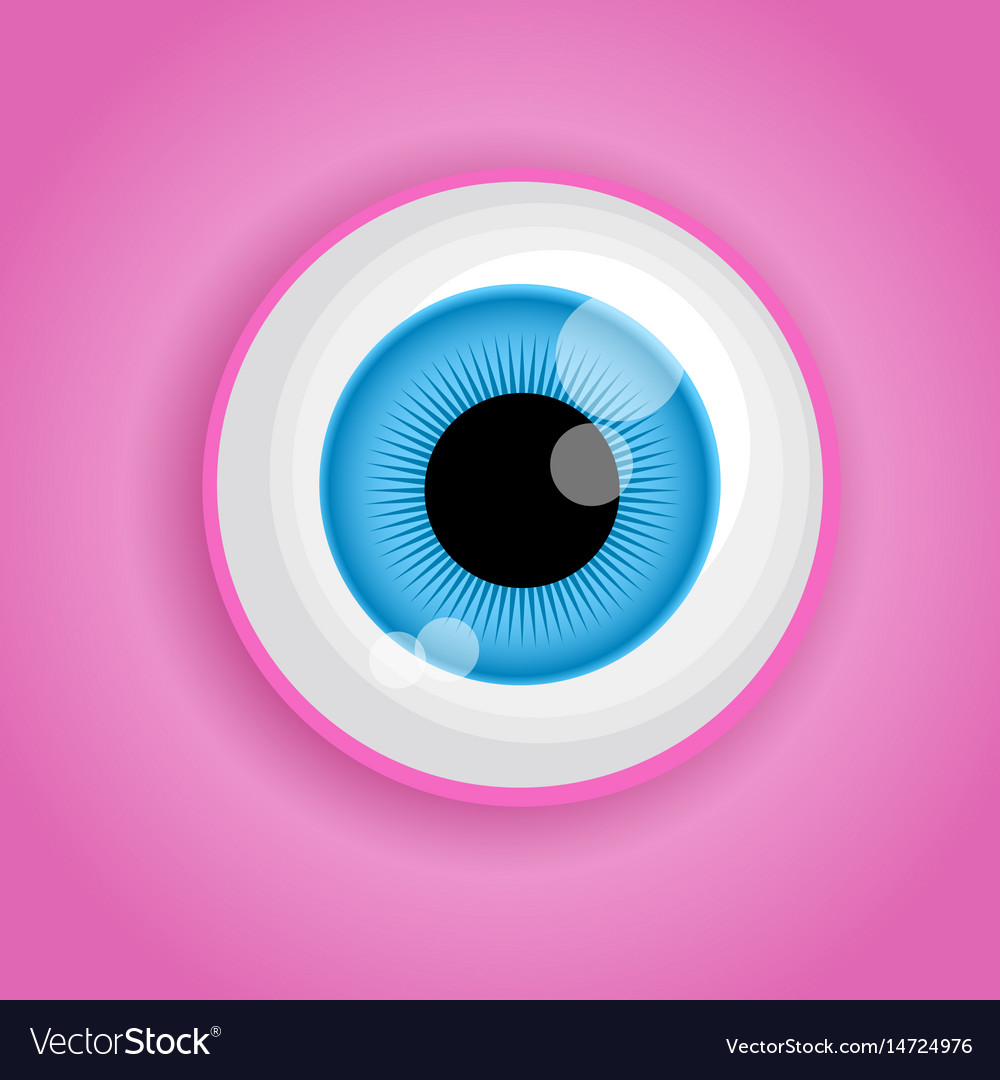 Background with cartoon monster eye in pink colors