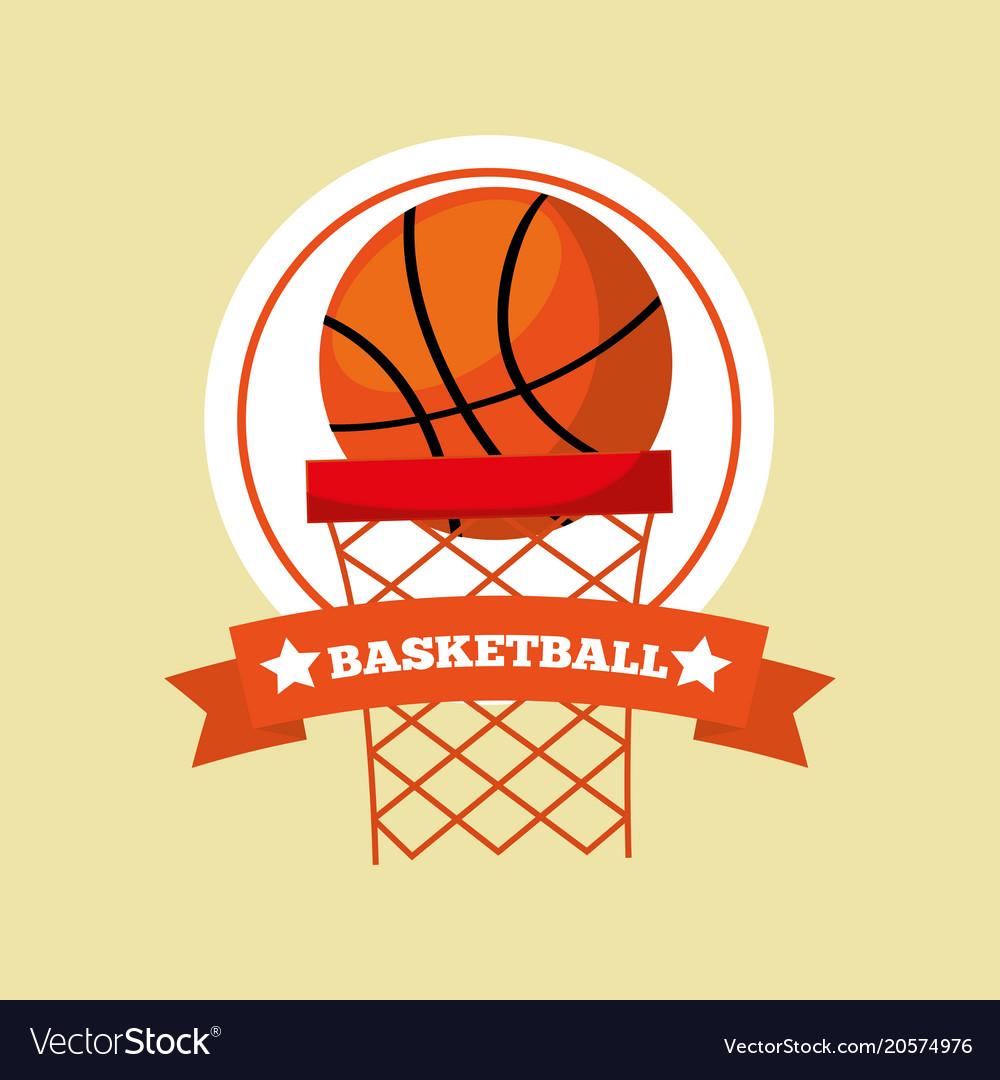Basketball hoop ball game sport emblem