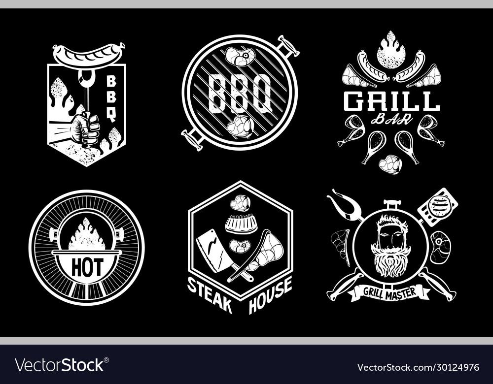 Bbq vintage emblem set barbecue retro signs