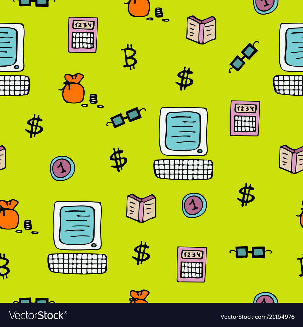 Bright seamless pattern for traders and brokers