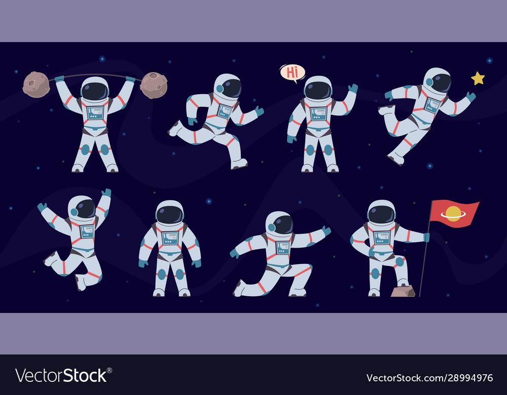 Cartoon astronaut cosmonaut characters