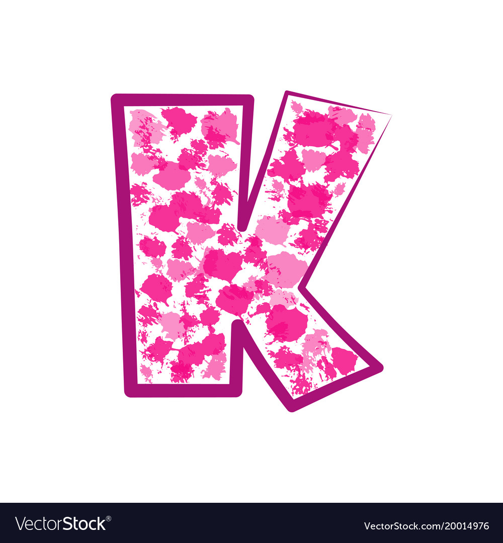 English pink letter k on a white background