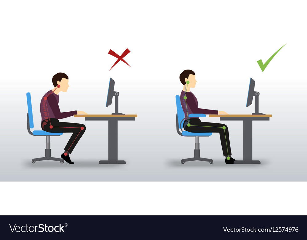 Ergonomic Wrong And Correct Sitting Posture Vector Image
