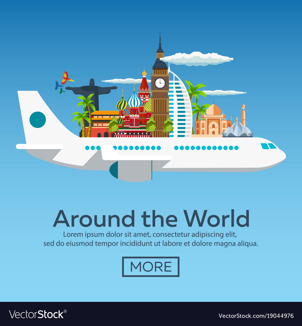 Flat web banners on the theme of travel by