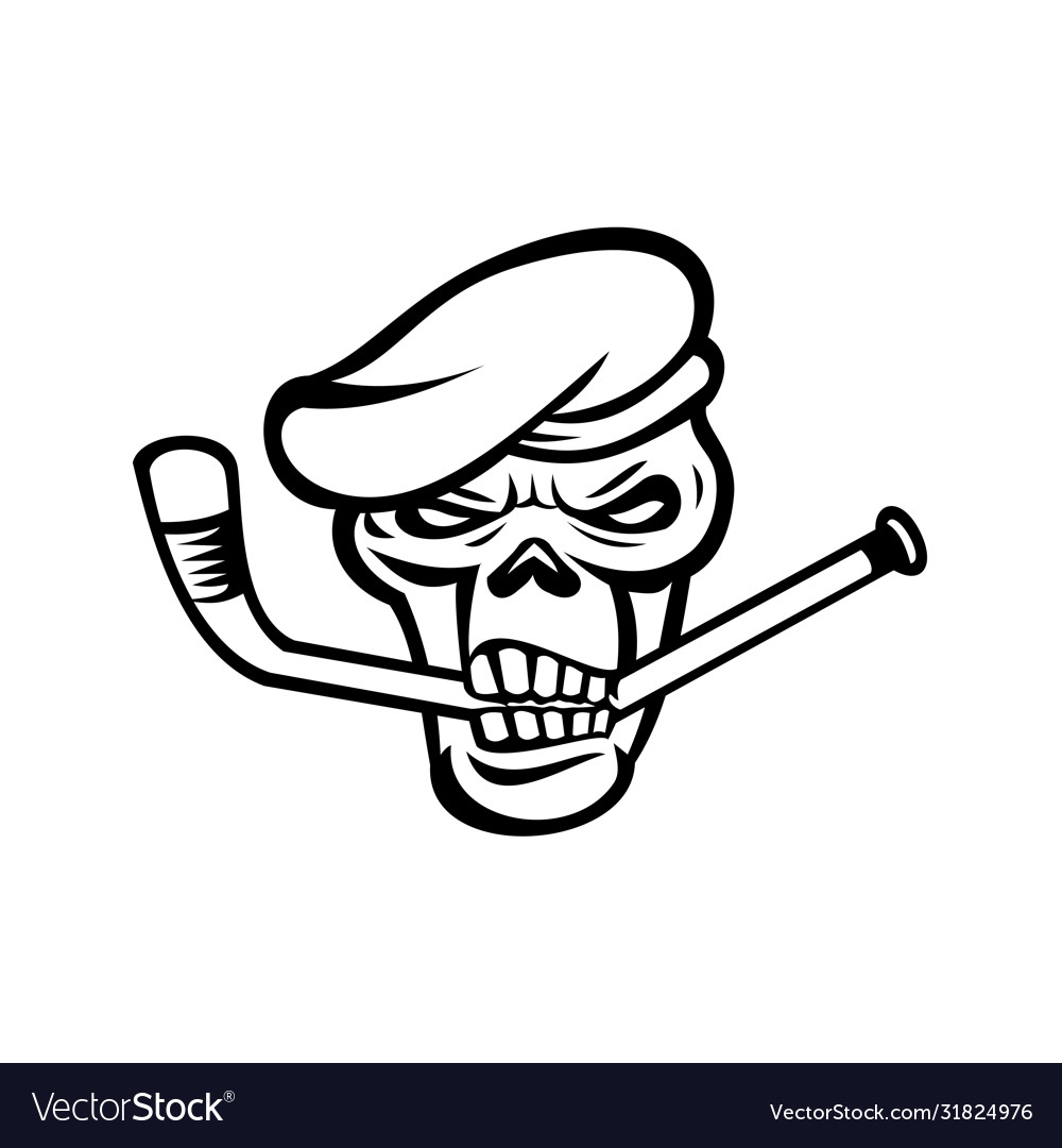 Green beret commando skull biting an ice hockey