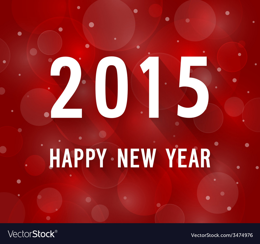 Happy New Year 2015 Creative Paper Greeting Card Vector Image
