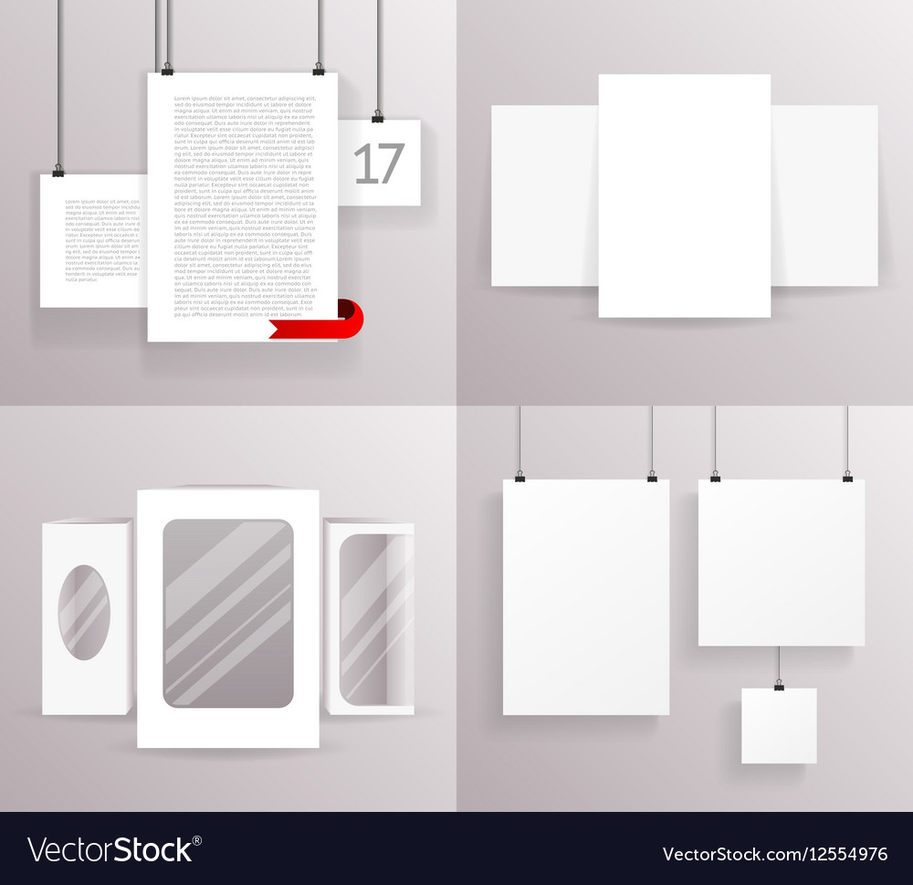 Mock Up Set Frames Boxes Paper Big Little Vector Image