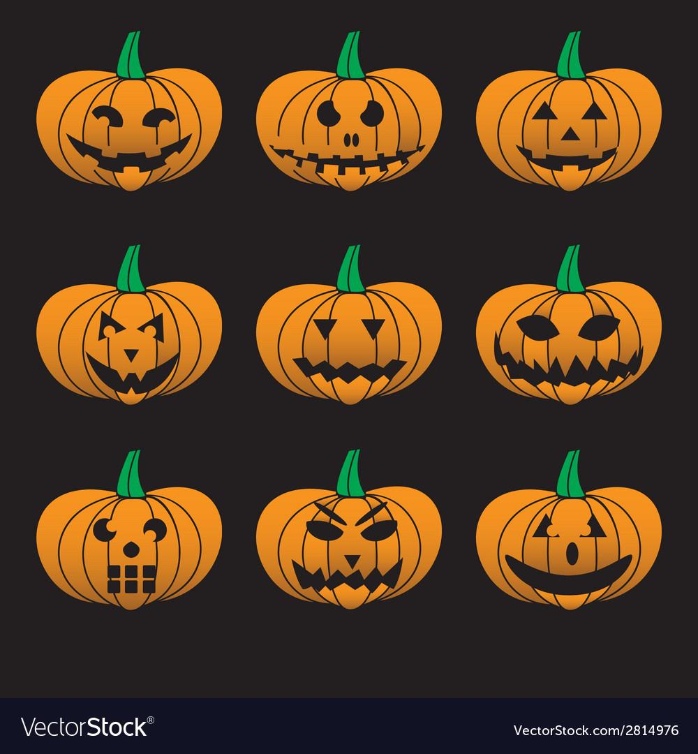 orange halloween carved pumpkins set eps10 vector image rh vectorstock com