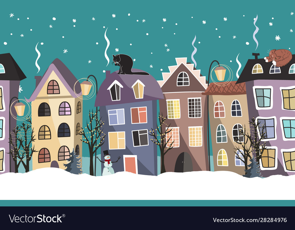 Seamless winter border with cute houses and trees