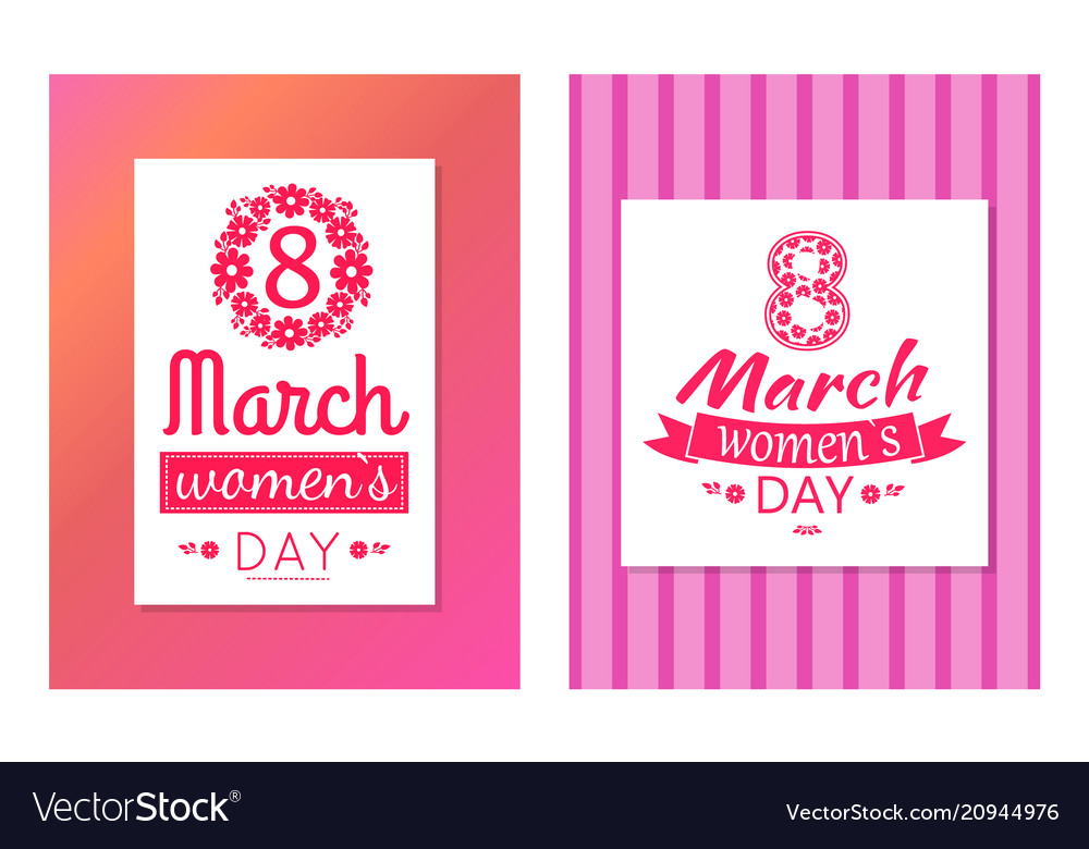 Set of greeting cards design 8 march day postcards