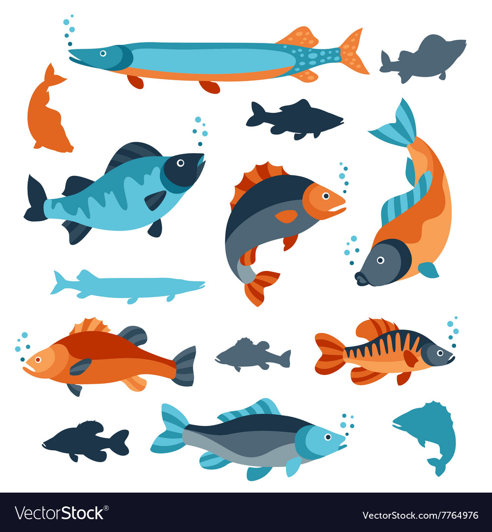 Set of various fish Objects for decoration