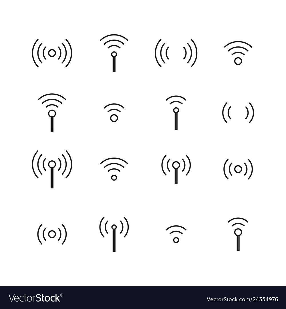 Set of wireless icons from thin lines
