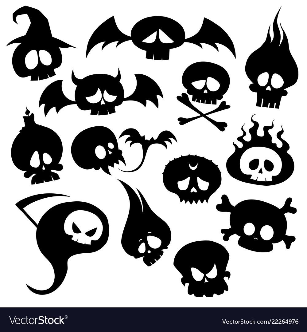 Set skulls and monsters collection skulls