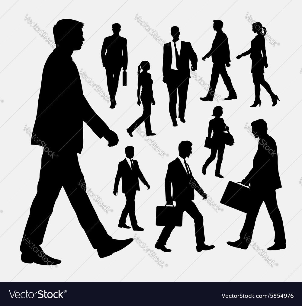 Walking people silhouettes