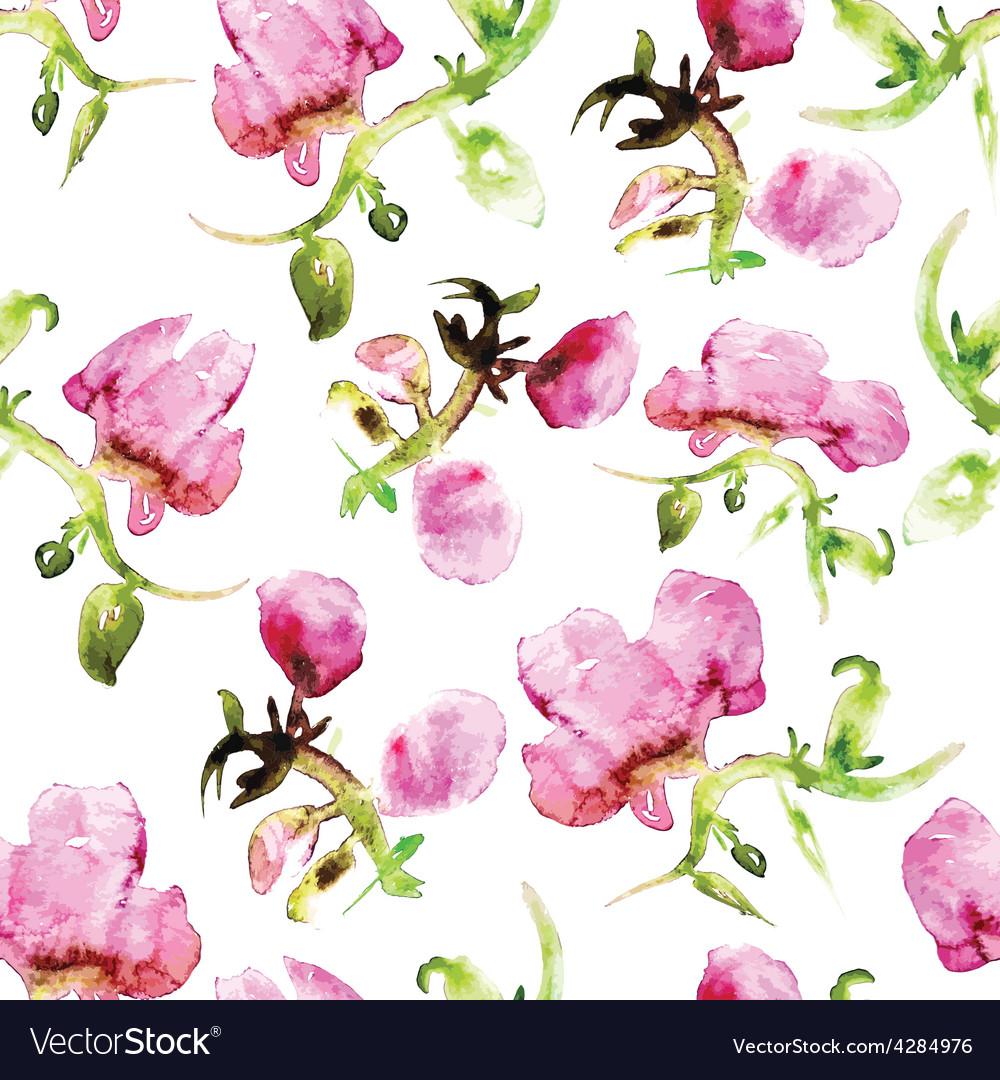 Watercolor seamless flower pattern