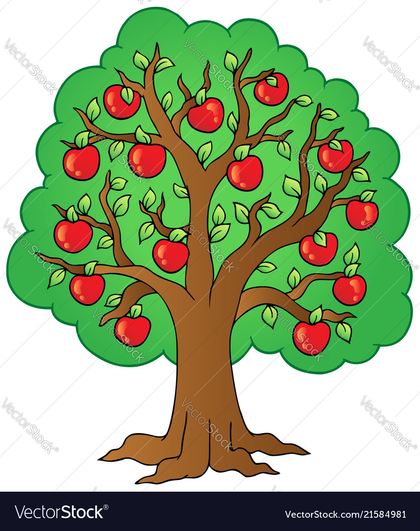 Cartoon Apple Tree Royalty Free Vector Image Vectorstock