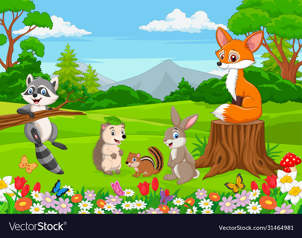 Cartoon wild animals in jungle