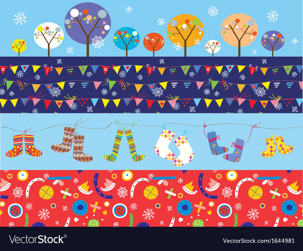 Christmas banners with decorations trees socks