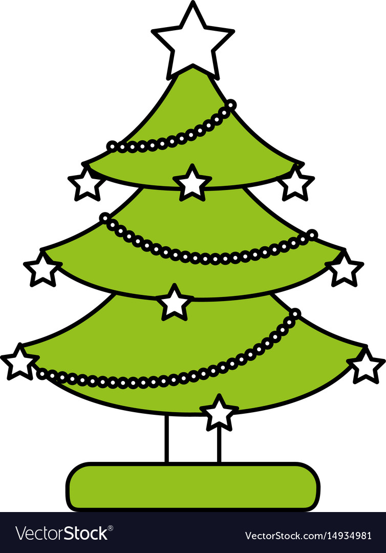 Color silhouette image of decorated christmas tree