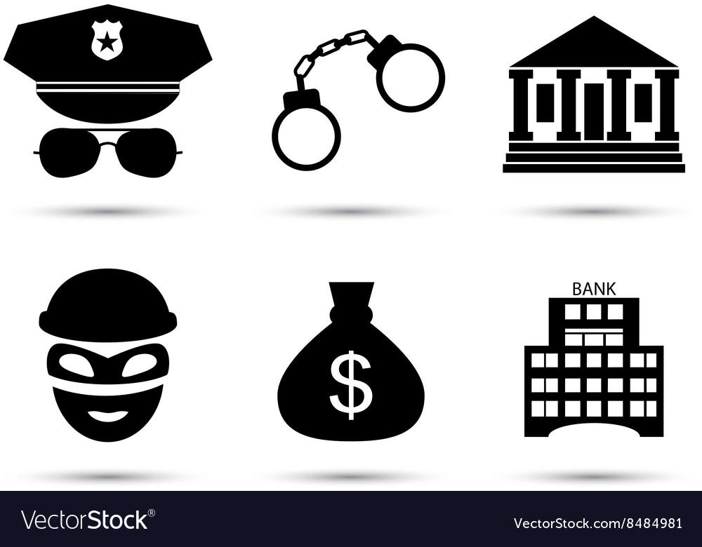 Criminal and prison icons set