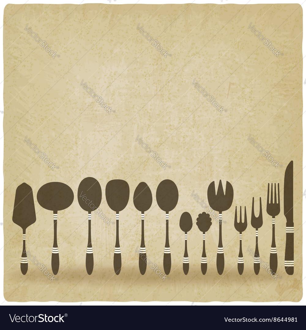 Cutlery tableware set old background