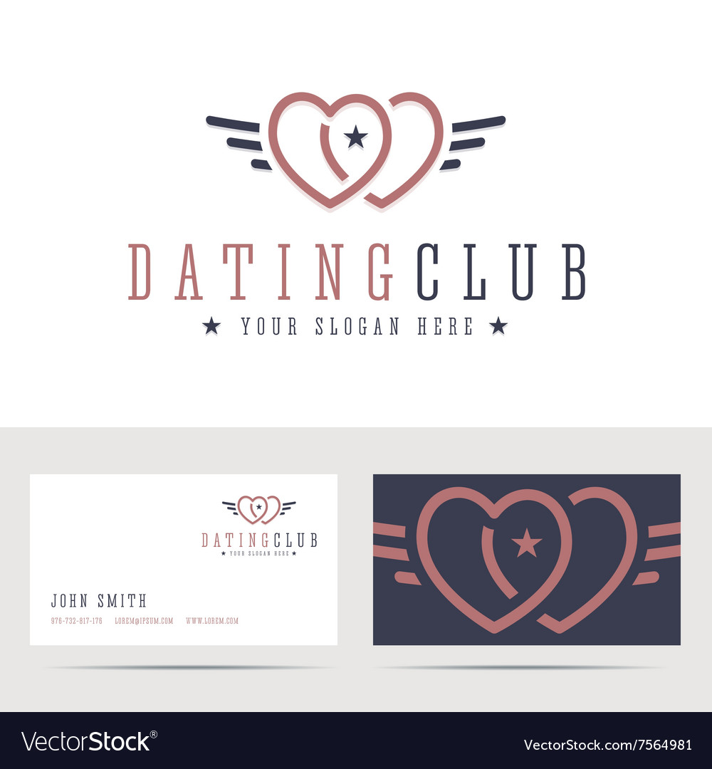 Dating club logo and business card template vector image colourmoves