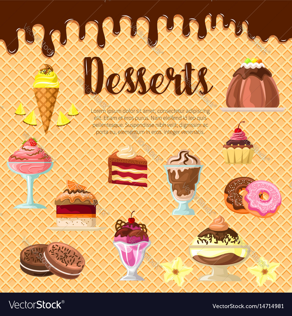 Desserts and cakes on chocolate waffle