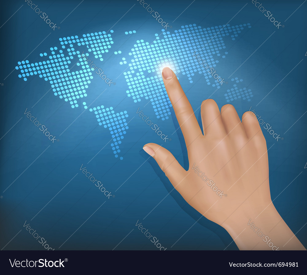 Finger touching world map on a touch screen vector image