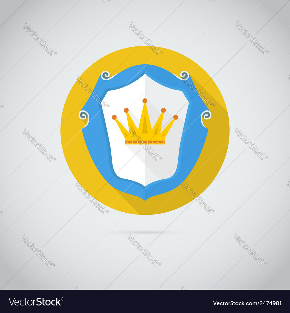 Flat icon with golden crown