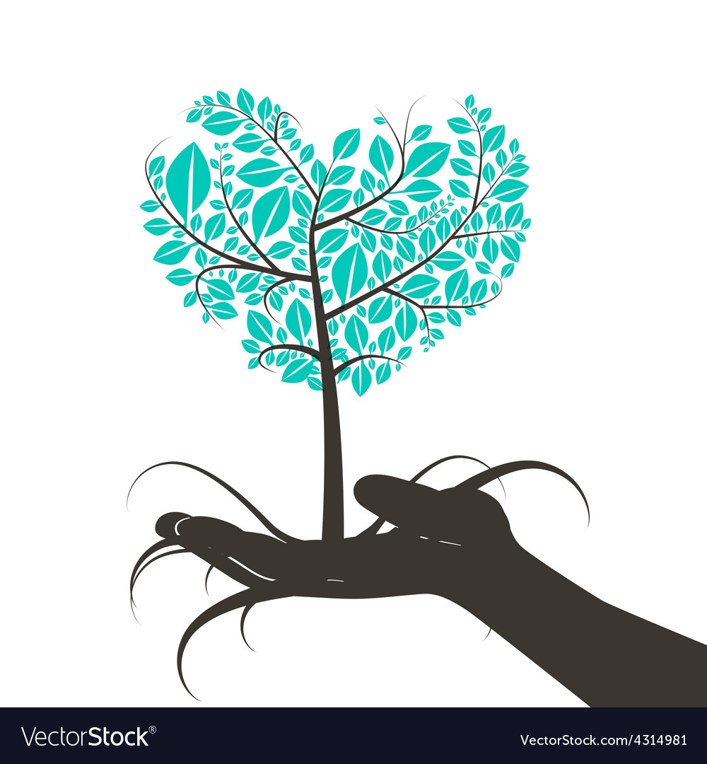 Heart Shaped Tree in Human Hand Silhouette